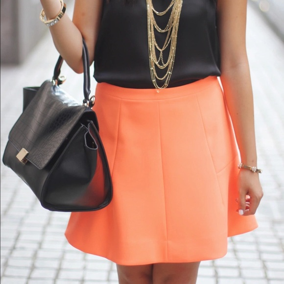 J. Crew Skirts - REDUCED: J.Crew Fluted Skirt in Neon Orange