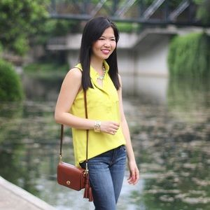 Ann Taylor Tops - Chartreuse Sleeveless Blouse