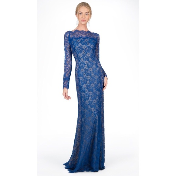 Tadashi Shoji Dresses | Long Sleeve Blue Lace Evening Gown | Poshmark