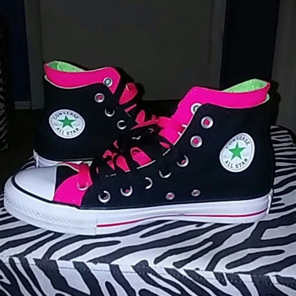 High top Double Tongue Converse Black Pink Lime