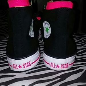 68eb69c53294 Converse Shoes - High top Double Tongue Converse Black Pink Lime