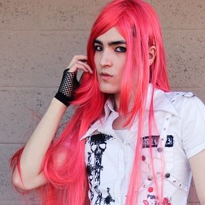 Long Bright Pink/ Red Wig. Straight, extra long.