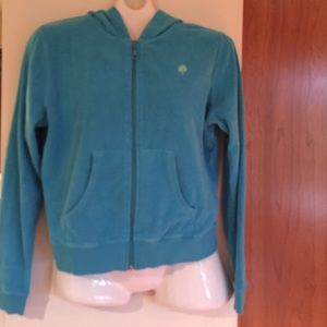 ✨LILLY PULITZER✨turquoise hooded terrycloth jacket