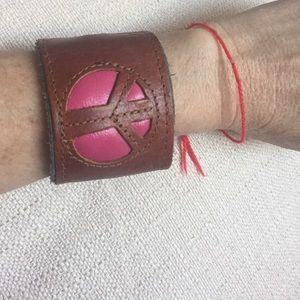 Jewelry - Bracelet/cuff, pink & brown leather w/zipper pouch