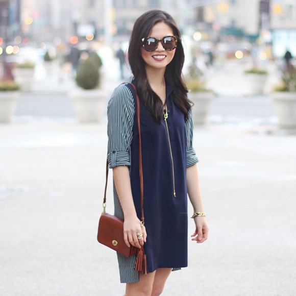 LOFT Dresses - Navy Shirt Dress with Striped Back