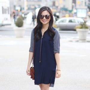 Navy Shirt Dress with Striped Back