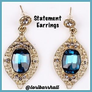 Blue Gemstone Statement Earrings