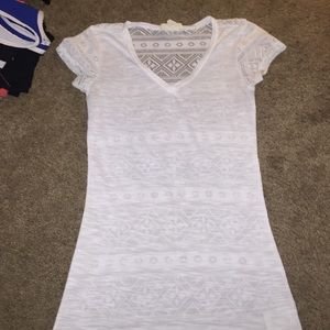 White Short Sleeve Top W/ A Simi See Through Back