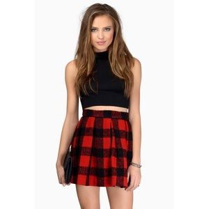 🆕 Red Black Plaid Wool Skater Skirt