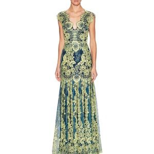 Erin Fetherston Lace cap sleeve evening gown