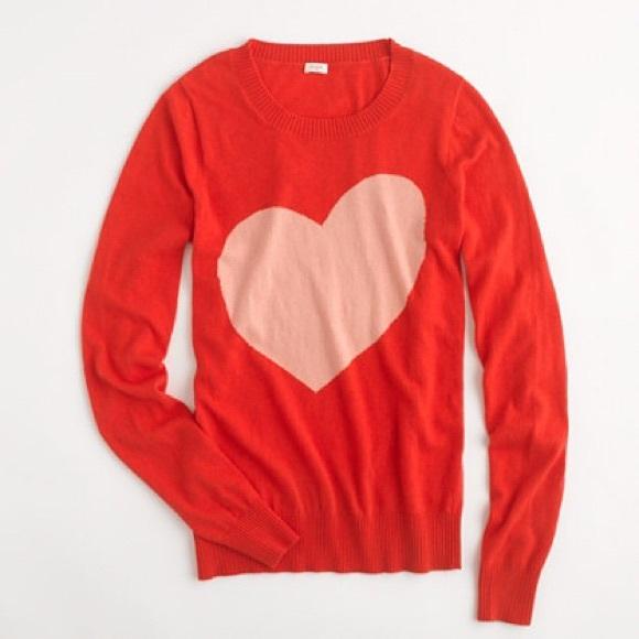 b7a99abd3ed J. Crew Sweaters - J. Crew Factory Heart Crewneck Sweater Red Orange