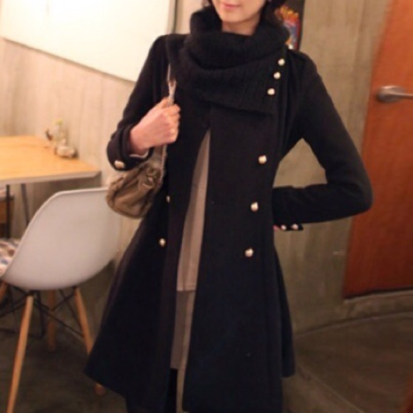 58% off Jackets & Blazers - Black Fitted & Flared Pea Coat from ...