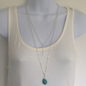 Long layered silver tone necklace