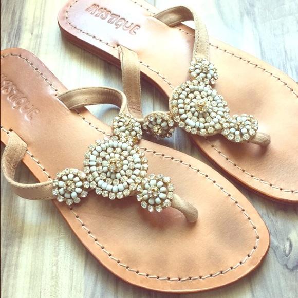 1ec80f115 Beige Mystique sandals with beeds and crystals. M 5610328947da815b3f00b725