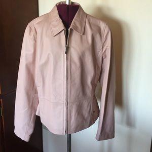 Black Rivet Pink Leather Jacket L