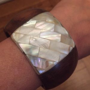 Jewelry - WOOD & MOTHER OF PEARL BANGLE