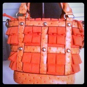 Handbags - SOLD! Orange Ruffle ToteBag