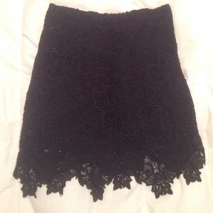 Forever 21 Black Cutout Lace Mini Skirt SMALL