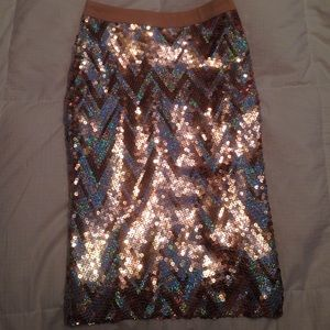 Endless Rose Sequin Gold Silver Midi Skirt NWT $64