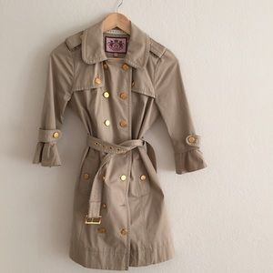 Juicy Couture ruffled sleeve trench coat