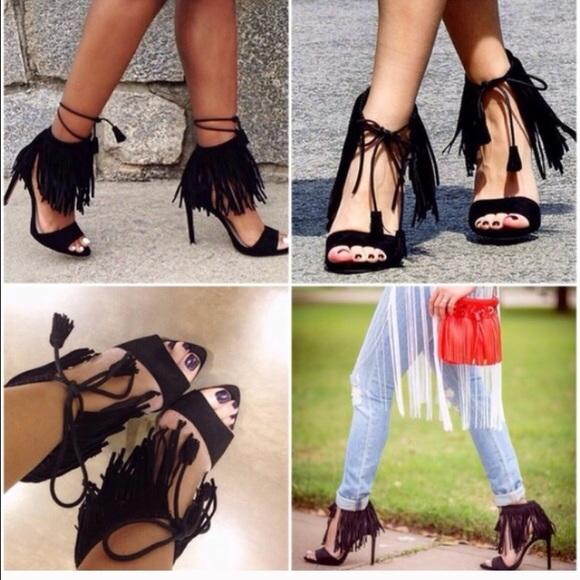 cf129a7eb92 Zara Black Fringe Heels