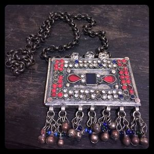 Vintage Jewelry - Vintage Tribal Afghan Gypsy Boho Necklace