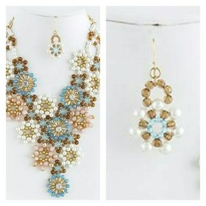 HANDMADE ACRYLIC SNOWFLAKE MOTIF LINK NECKLACE SET