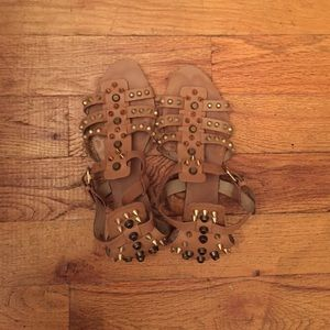 Zara tan studded gladiator sandals