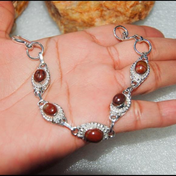 "handmade & handcrafted gemstone jewelry Jewelry - 925 Silver Stamp Red Jasper Bracelet 7 1/2"""