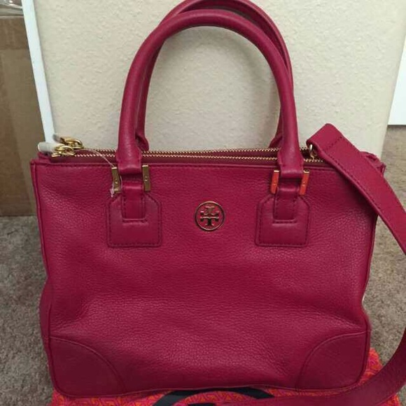 c089bb4ba6f7c Tory burch Robinson mini double zip tote raspberry