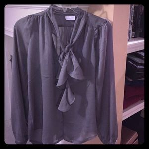 New York & Company Tie Front Gray Blouse