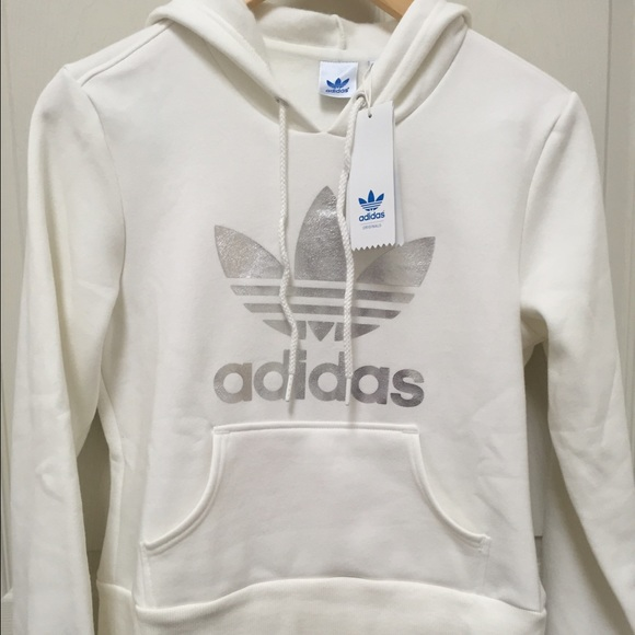 Adidas Trefoil Hoodie Women s White and Silver e2099cf816