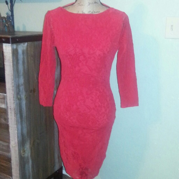Soft Red Lace Open Back Dress