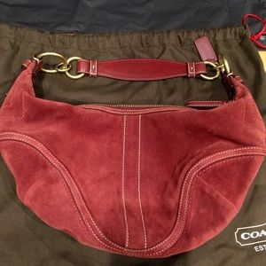 Coach Suede Leather Burgundy Hobo Purse
