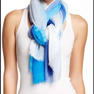 14th & Union Accessories - Aqua Blue & White Tie Dye Oblong Fringe Scarf