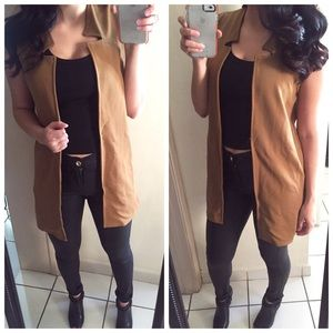 Zara Jackets & Blazers - CLOSET CLOSING •Camel Notch Neck Sleeveless Duster