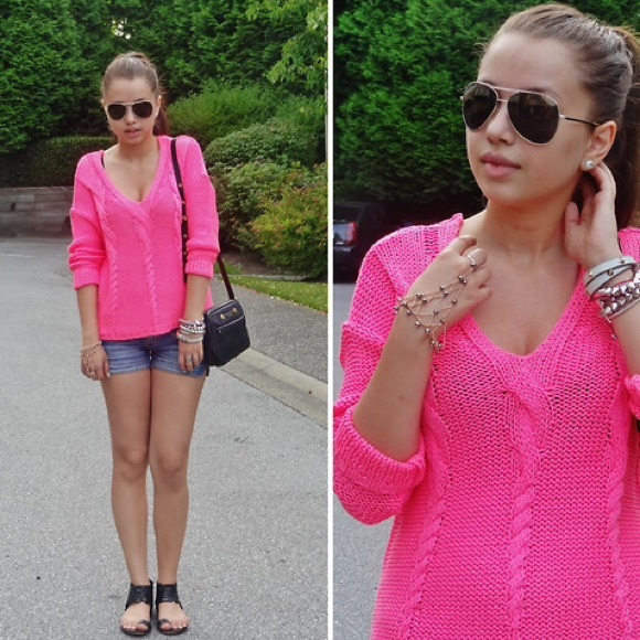 64% off H&M Sweaters - Hot pink cable knit sweater from Alexa's ...