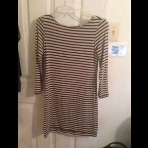 Navy and white striped midi dress