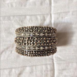 Textured silver cuff bracelet