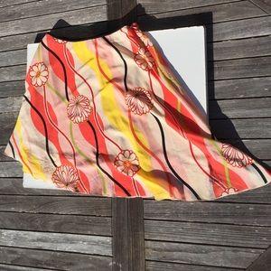 Trina Turk Asymmetrical Floral Stripe Silk Skirt 2