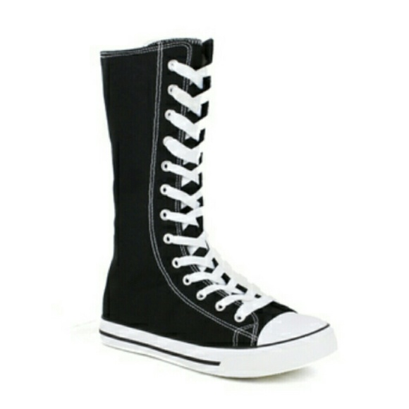 Converse Shoes - Preteen girls knee high black converse 5683bda0c