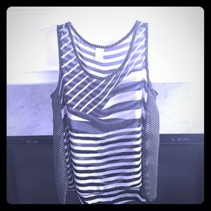 Black and White Printed Sheer Tank