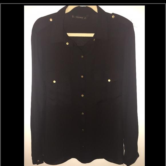 9e99c2b9 Zara Tops | Black Blouse Woman Size L Gold Buttons | Poshmark