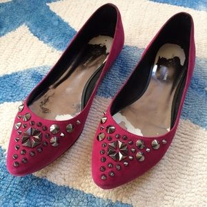 Rock & Republic Shoes - Rock & Republic Magenta Suede Flats