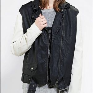 Black&White Faux Leather Biker Moto Jacket