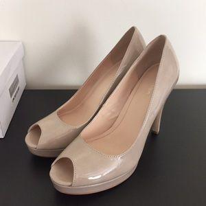 Calvin Klein Sandie Patent Platform Peep-Toe Pump