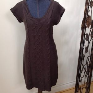 Red Camel Sweaters - Dark Grey Cable Pattern Sweater Dress/Tunic