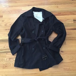 Calvin Klein Black Trench Coat - Size M