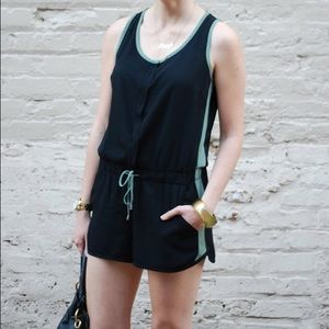 Splendid black with green stripe romper.