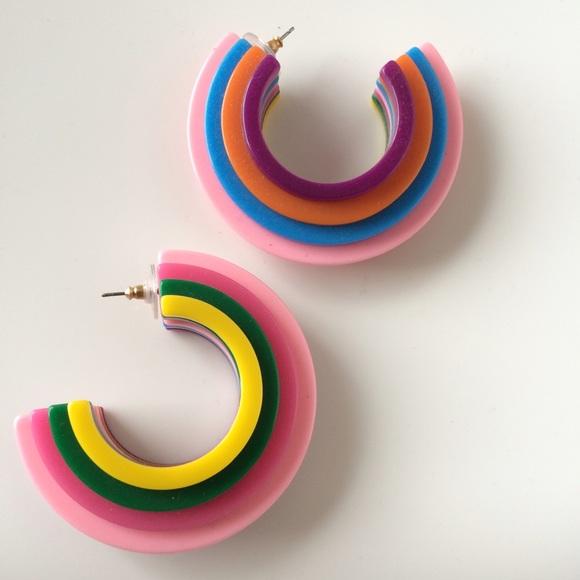 nOir Jewelry Jewelry - nOir jewelry Geoplastic Earrings (Rainbow)